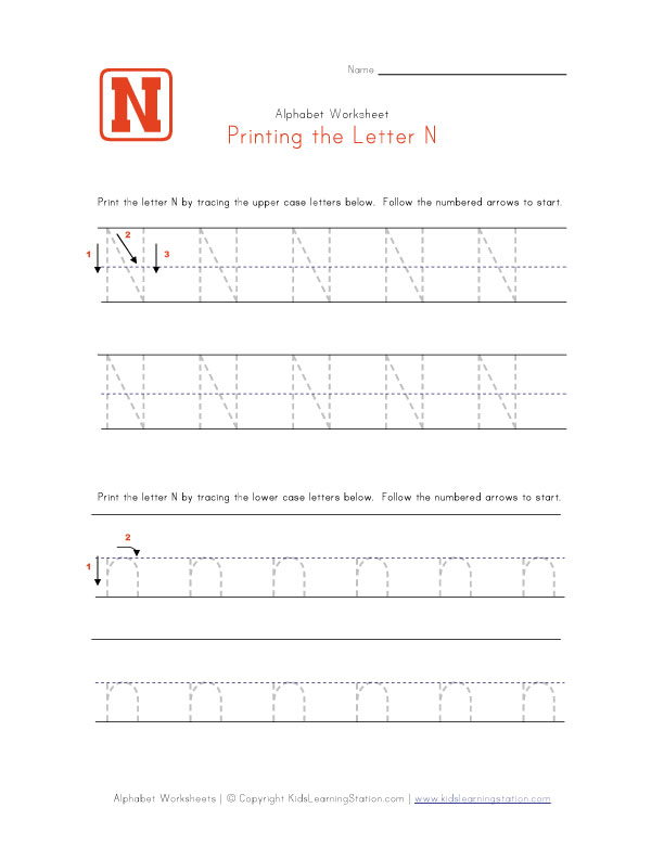 Letter n Worksheet Preschool Letter n Worksheet 612 x 792