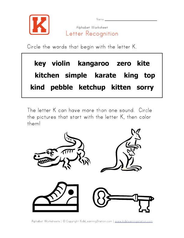 K Words For Kindergarten Preschool Alphabet Activity