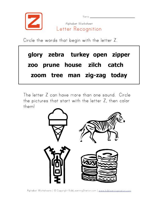 Z Words For Kindergarten